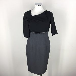 Calvin Klein S 6 Black Gray Sheath dress Colorbloc